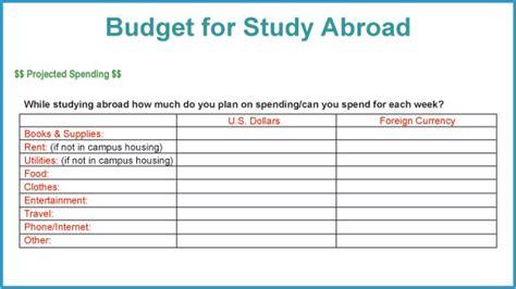Study Abroad Budget Template Studentsabroad Com Study Abroad Handbook Worldwide Financing Study Abroad