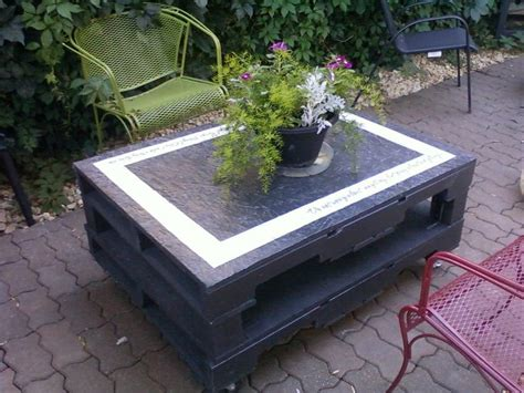 Patio Table Out Of Pallets Outdoor Pallet Table Pallet Tables Pallets And Outdoor