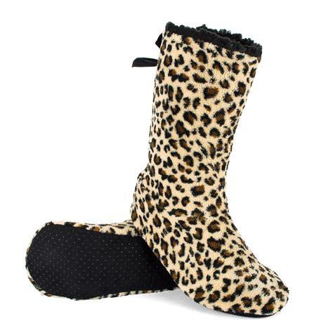 bottom slipper boots indoor slipper boots with gripper sole animal pattern ebay