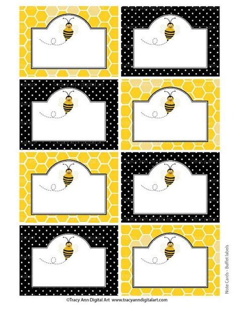 card bee template honey bee printable labels or buffet cards instant