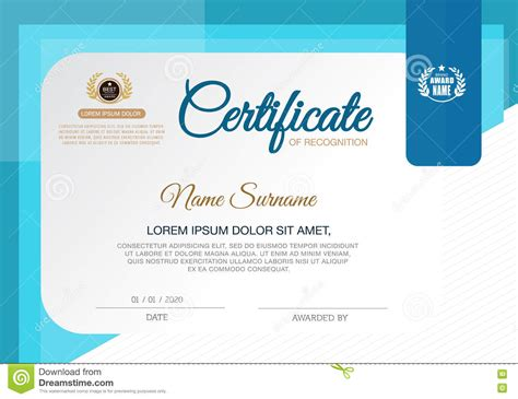 cer van layout certificate of achievement frame design template blue