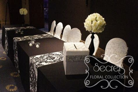 black and white table arrangements a black and white damask wedding reception decoration