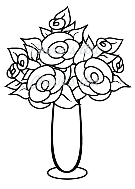 Vase With Flowers Coloring Page Pattern Flower Vase Clipart Clipart Suggest