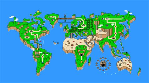 Super Mario World Maps by Super Mario S Map Of The World