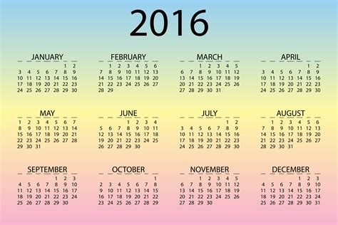 2016 12 Month Calendar 2016 Calendar With 12 Month From Downloadclipart Org