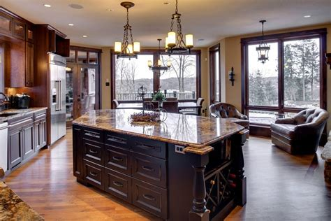 distressed black kitchen island traditional kitchen