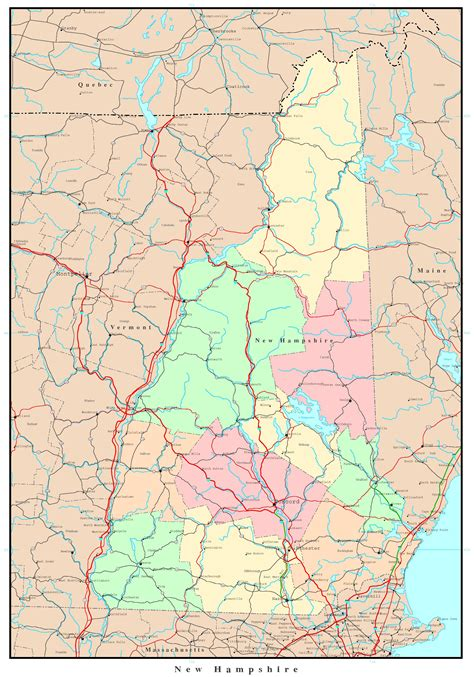 printable new hshire road map new hshire political map