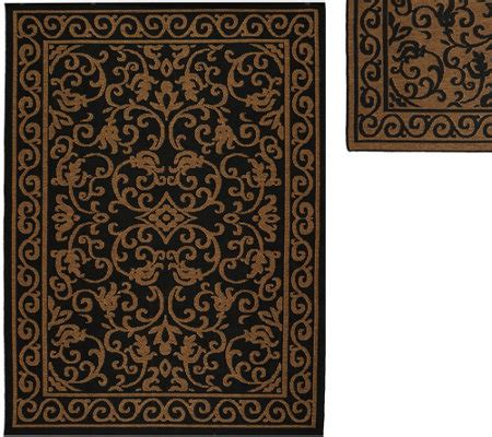 Qvc Outdoor Rugs Veranda Living Indoor Outdoor Reversible 5 X 7 Scroll Rug Qvc