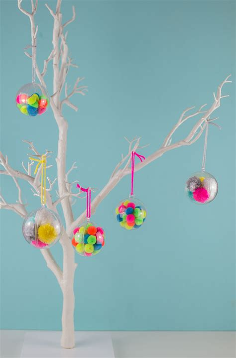 make your own tree baubles make your own pom pom baubles let s do