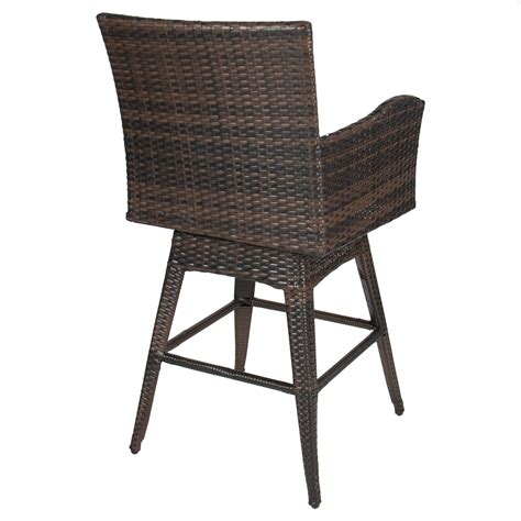 outdoor wicker bar stools swivel outdoor patio furniture all weather brown pe wicker swivel