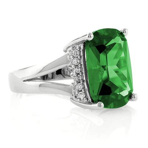 big emerald cut emerald sterling silver ring