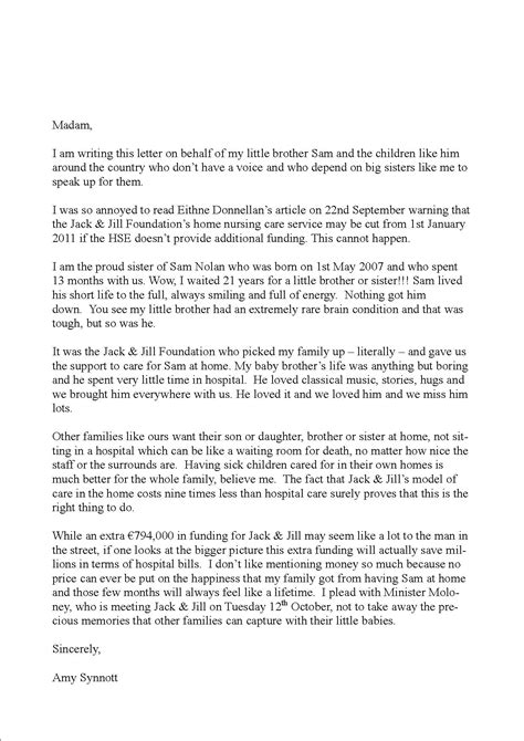 Gift Letter Aib Letter From Sibling Of Baby To The Editor Of The Times And