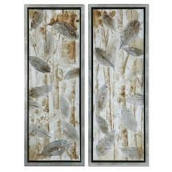 framed wall murals wall art set of 2 metal leaf 14 5 x 32 wall art set of