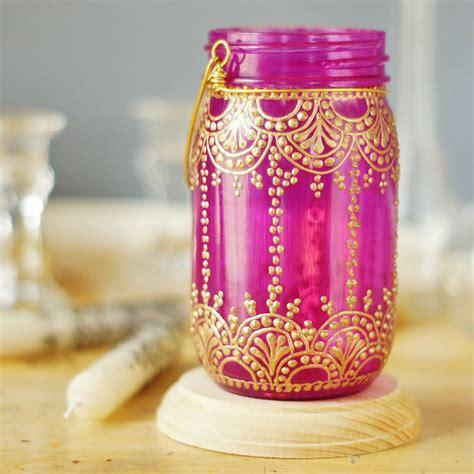 henna design mason jars henna inspired mason jar lantern hot pink glass with golden