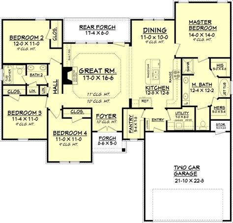 country style floor plan country style house plan 4 beds 2 baths 1798 sq ft plan