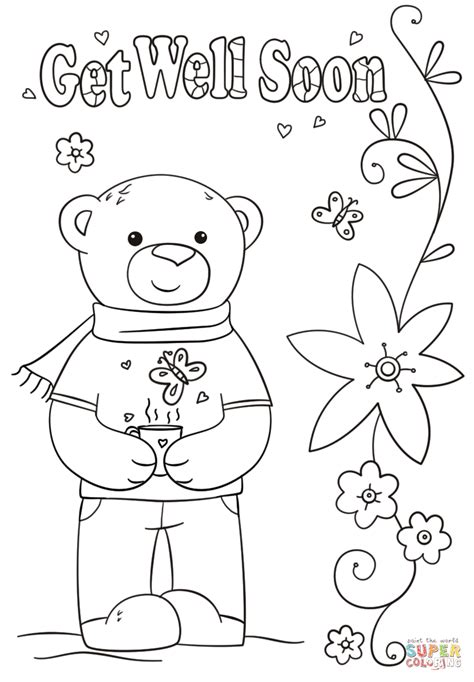 funny get well soon coloring page free printable