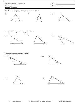 worksheet triangle angle sum theorem classifying