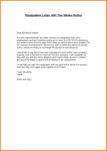 Two Weeks Notice Format by 4 Resignation Letter Sle 2 Weeks Notice Expense Report