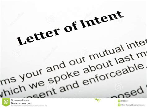 Closing Letter Of Intent Letter Of Intent Royalty Free Stock Photography Image 31605567