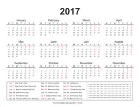 2017 Annual Calendar With Holidays Next Years Calendar 2017 Calendar 2017 Printable