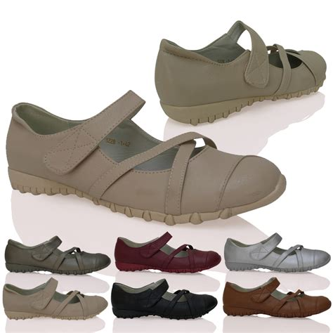 comfort sole shoes womens ladies flats strap comfortable thick sole ballerina