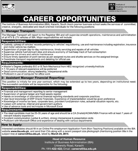Mba Erp In Karachi by Iba Karachi 2014 March For Transport Manager