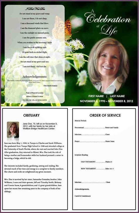 doc 7461145 free memorial program templates free funeral