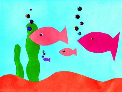 Paper Pasting Craft - paper aquarium easy cutting and pasting activity ellas