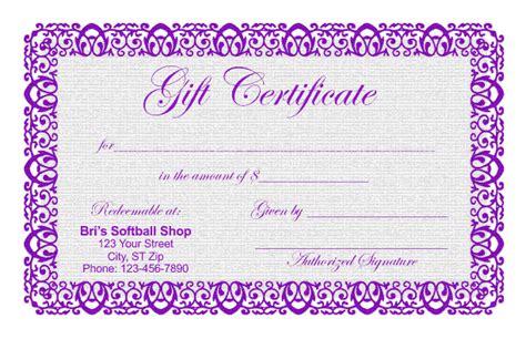 purple certificate template gift certificate templates