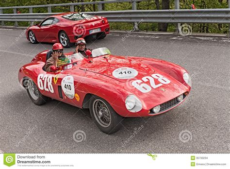 ferrari classic race car ferrari 500 mondial in mille miglia 2013 editorial stock