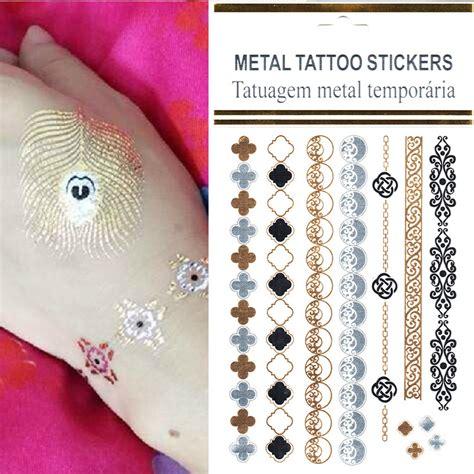 body jewelry tattoo stickers wholesale 10pcs lot flash bohemian tattoo designs gold