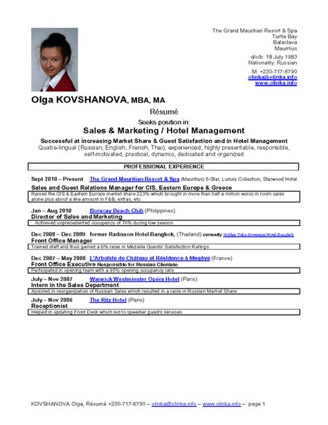 Hotel General Manager Resume Sle by Career Objective For Hotel Management 28 Images Best