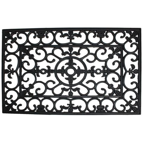 Wrought Iron Rubber Doormat j m home fashions wrought iron 24 in x 36 in rubber door mat 4185 the home depot