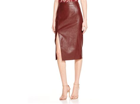 bardot faux leather side slit pencil skirt in purple lyst