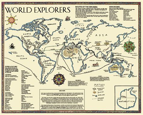 Ancient Explorer Map Vintage World - world explorers map borders and new maps for the
