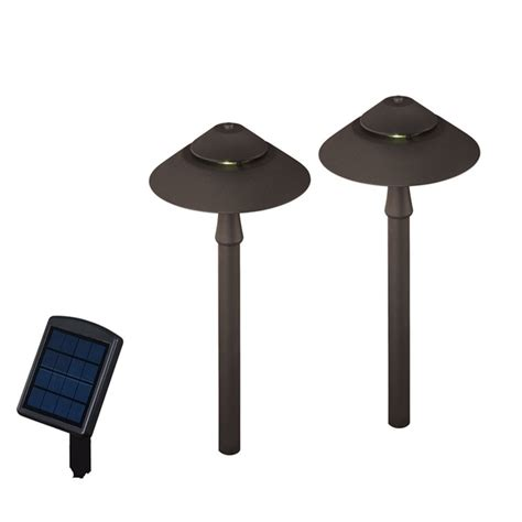 Lowes Landscape Lighting Shop Portfolio 2 Path Light Specialty Textured Bronze Led Path Light Kit At Lowes