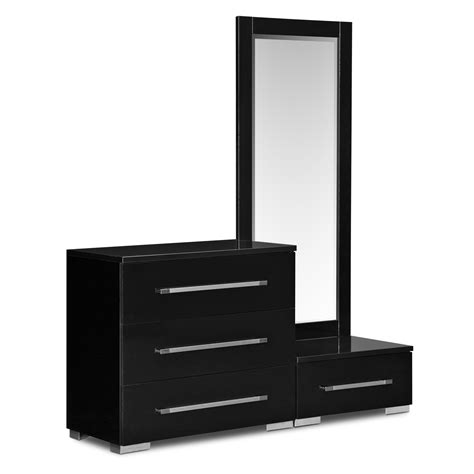 Bedroom Dressers With Mirrors dimora dressing dresser and mirror with step black american signature furniture