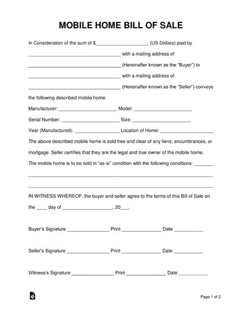 Bill Of Sale Template For Mobile Home Free Mobile Manufactured Home Bill Of Sale Form Pdf Word Eforms Free Fillable Forms