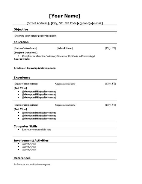 School Resume Template resume templates for highschool students pixtasy co