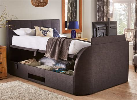 bed frame with built in tv evolution slate tv ottoman bed dreams