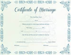 printable marriage certificate template printable marriage certificate sles