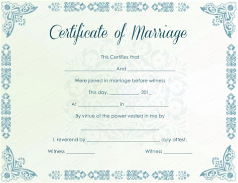 wedding certificate templates printable marriage certificate sles