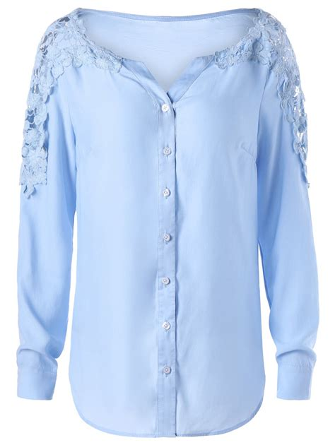 Lace Panel Sleeve Shirt womens lace panel sleeve shirt blue 20814 mh