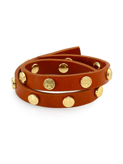 burch logo stud leather wrap bracelet in brown