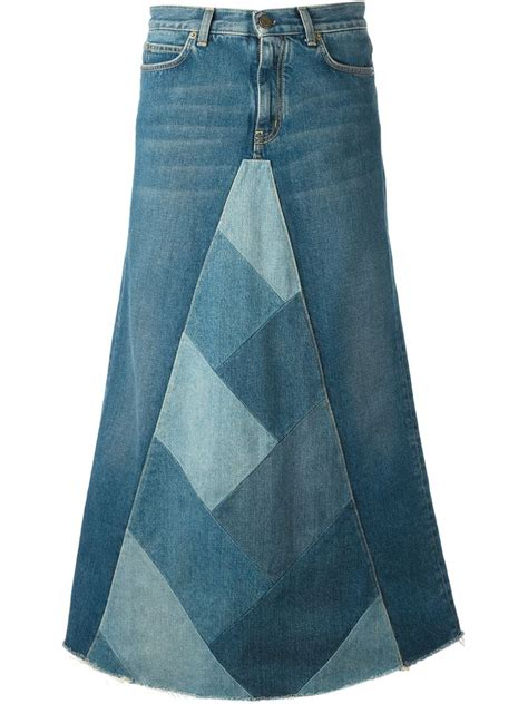 Patchwork Denim Skirt - lyst laurent patchwork denim skirt in blue