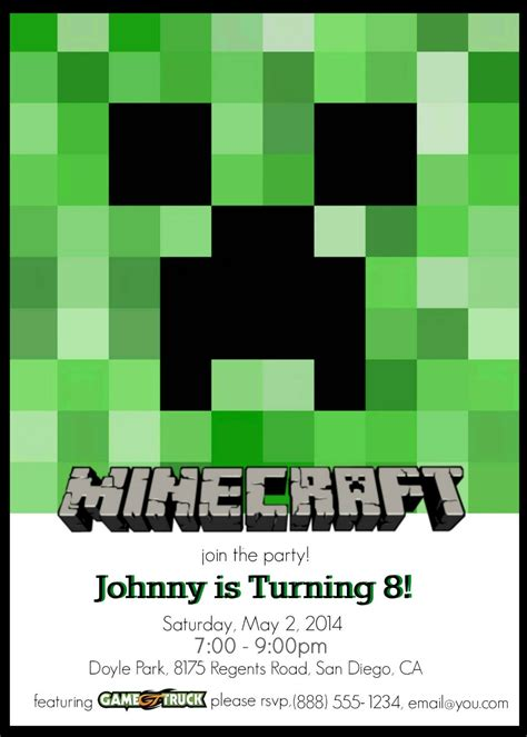 minecraft birthday card template make your own custom printable minecraft invitations