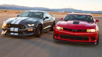 Ford Mustang Vs Chevy Camaro 2016 Ford Mustang Shelby Gt350r Vs 2015 Chevrolet Camaro