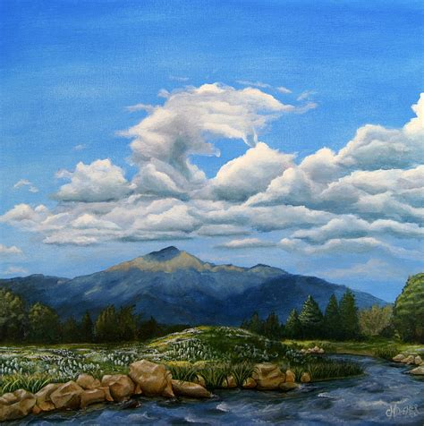 Mountain High Gift Cards - rocky mountain high painting by christine deemer