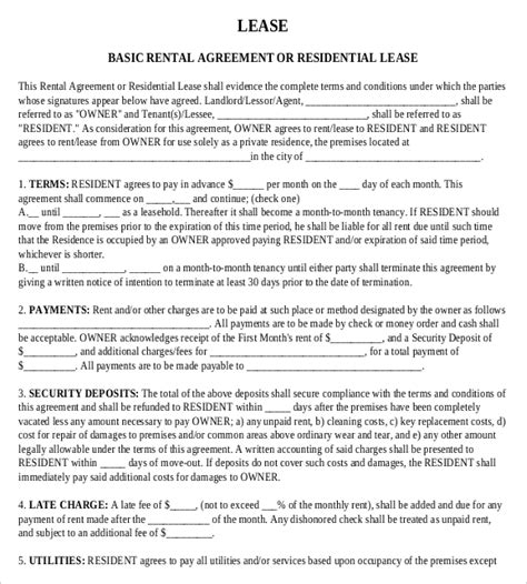 Basic Residential Lease Agreement Template Rental Agreement Templates 15 Free Word Pdf Documents