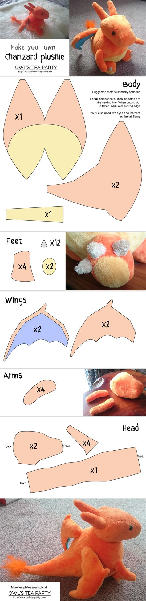 charizard template charizard or any sewing pattern owl s tea